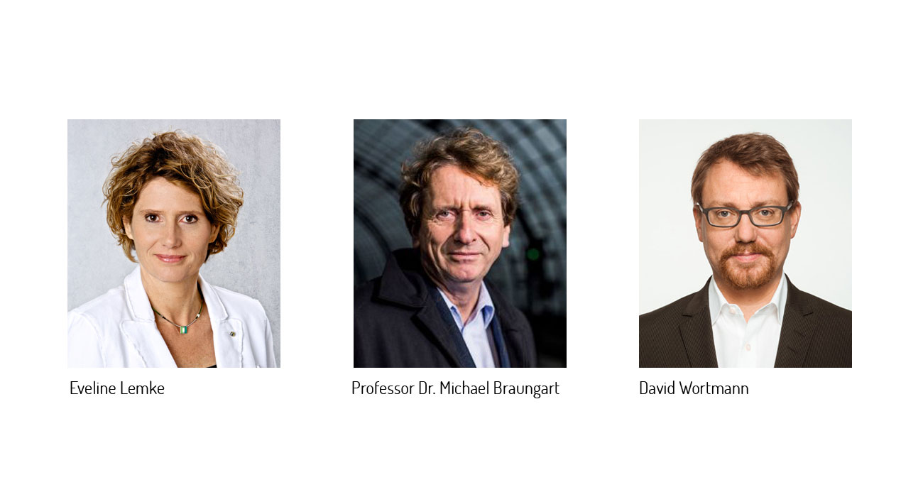 Portraitbilder von links: Eveline Lemke, Professor Dr. Michael Braungart und David Wortmann